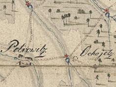 Piotrowice i Ochojec na mapie z 1800 r.  (C zbiory M. Siniec)