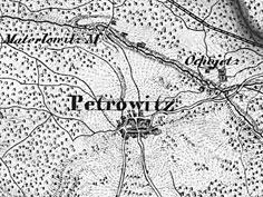 Piotrowice i Ochojec na mapie z 1856 r.  (C zbiory M. Siniec)