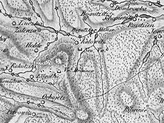 Teren dzisiejszych Katowic na mapie z ok. 1805 r.  (C zbiory M. Siniec)