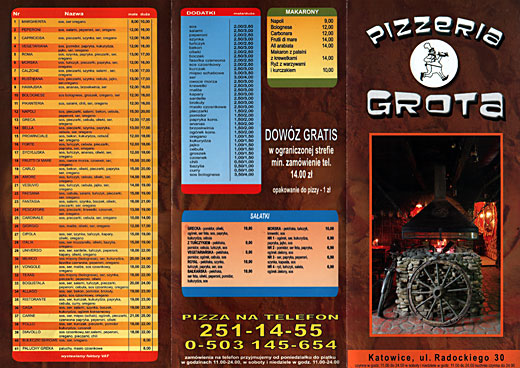 Pizzeria Grota Menu