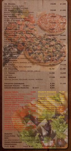 Pizzeria pod Zegarem Menu