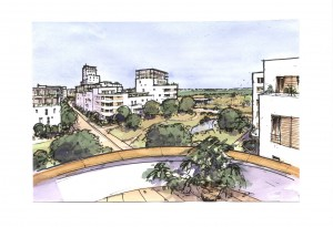 Osiedle w Piotrowicach widok z okna autor: Mycielski Architecture and Urbanism