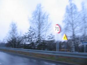 Znak ograniczenia do 70km
