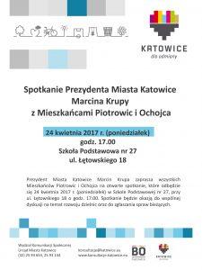 Spotkanie Prezydenta Miasta z mieszkańcami Piotrowic i Ochojca